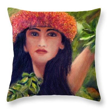 Hula Dancer Kahiko #422 Throw Pillow by Donald k Hall
