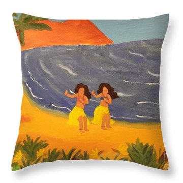 Hula Girls Throw Pillow