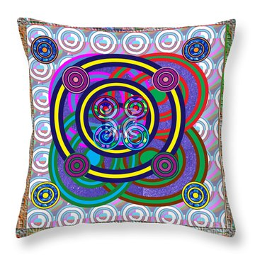 Hula Hoop Circles Tubes Girls Games Abstract Colorful Wallart Interior Decorations Artwork By Navinj Throw Pillow