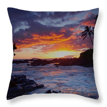 Hula Sunset Throw Pillow by James Roemmling