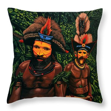 Huli Men In The Jungle Of Papua New Guinea Throw Pillow by Paul Meijering