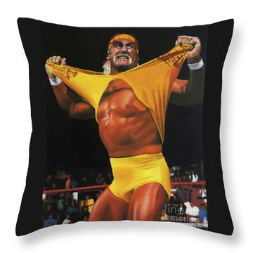 Hulk Hogan Oil On Canvas Throw Pillow