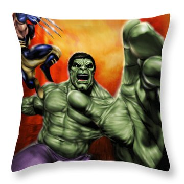 Hulk Throw Pillow by Pete Tapang