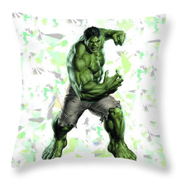 Throw Pillow featuring the mixed media Hulk Splash Super Hero Series by Movie Poster Prints