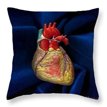 Human Heart Over Blue Velvet Throw Pillow