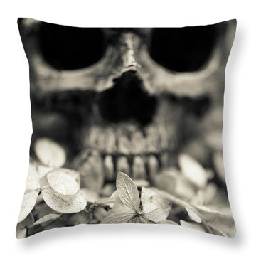 Throw Pillow featuring the photograph Human Skull Among Flowers by Edward Fielding