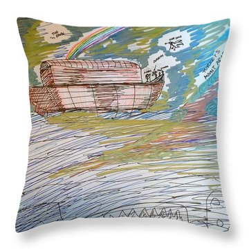 Humanity's Redemption At Mount Ararat Throw Pillow by Andrew Blitman
