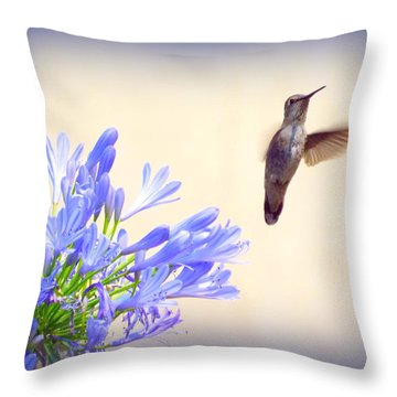 Hummer In Blue Throw Pillow
