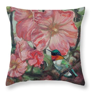 Hummer In Holly Land Throw Pillow