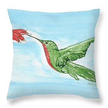 Throw Pillow featuring the painting Hummer With Flower by Belinda Landtroop