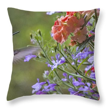 Hummer With Peach Geranium Throw Pillow