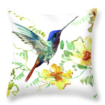 Hummibgbird And Yellow Flowers Throw Pillow