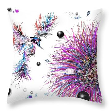 Throw Pillow featuring the digital art Humming Bird And Flower by Darren Cannell