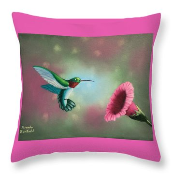 Humming Bird Feeding Throw Pillow