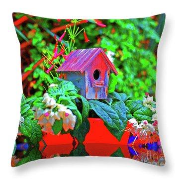 Humming Bird House Throw Pillow