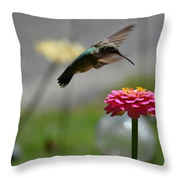 Throw Pillow featuring the photograph Humming Bird by Karen Kersey