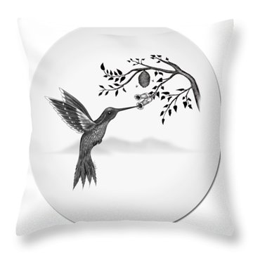 Throw Pillow featuring the digital art Hummingbird On Oval by Vincent Autenrieb