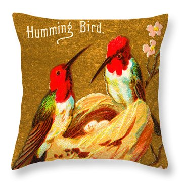 Humming Bird Victorian Tobacco Card By Allen And Ginter Throw Pillow