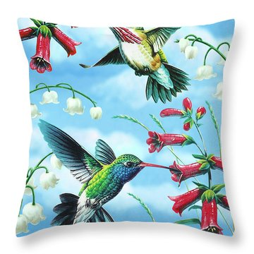 Humming Birds Throw Pillow