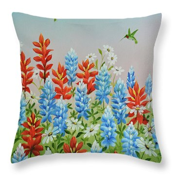 Throw Pillow featuring the painting Humming Birds Feeding On Wildflowers by Jimmie Bartlett