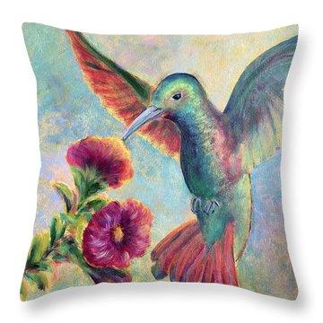 Humming Jewel Throw Pillow