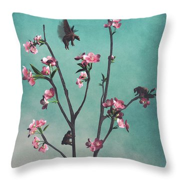 Hummingbears Throw Pillow by Cynthia Decker