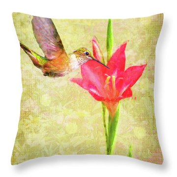 Throw Pillow featuring the digital art Hummingbird And Flower by Christina Lihani