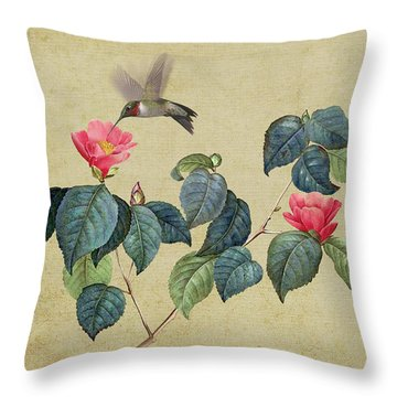 Hummingbird And Japanese Camillea Throw Pillow