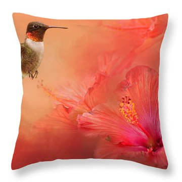 Hummingbird And Peach Hibiscus Throw Pillow