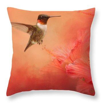 Hummingbird And Peach Hibiscus Throw Pillow