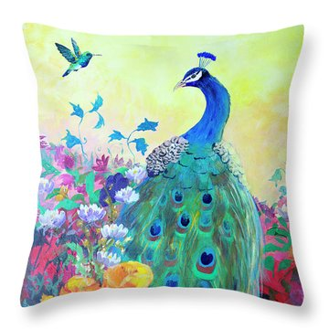 Throw Pillow featuring the painting Hummingbird And Peacock by Robin Maria Pedrero