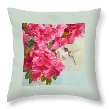 Hummingbird And Pink Azaleas Throw Pillow