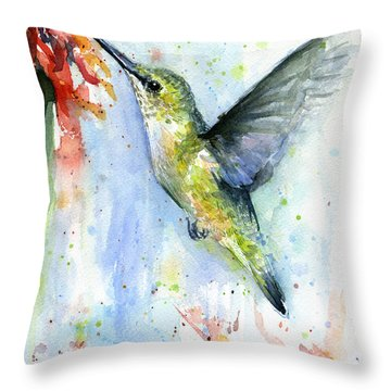 Hummingbird And Red Flower Watercolor Throw Pillow