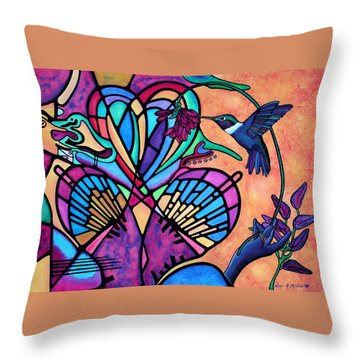 Hummingbird And Stained Glass Hearts Throw Pillow by Lori Miller
