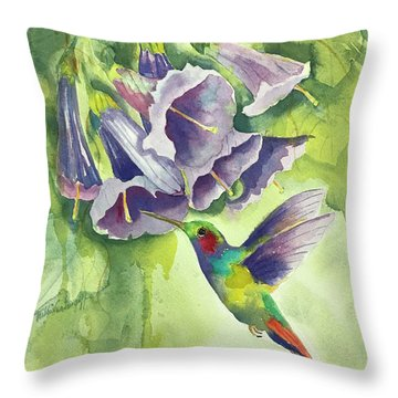 Hummingbird And Trumpets Throw Pillow