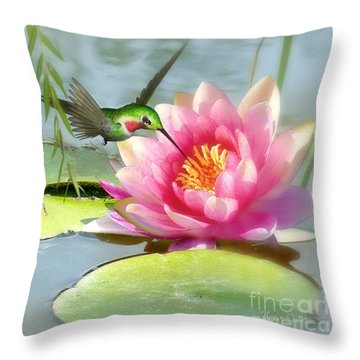Hummingbird And Water Lily Throw Pillow