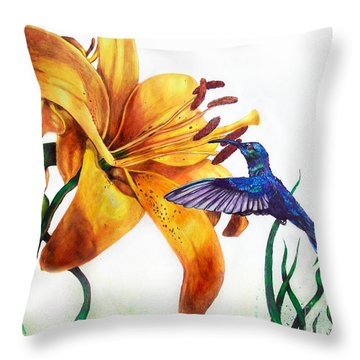 Hummingbird And Yellow Flower Throw Pillow