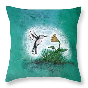 Throw Pillow featuring the painting Hummingbird by Antonio Romero