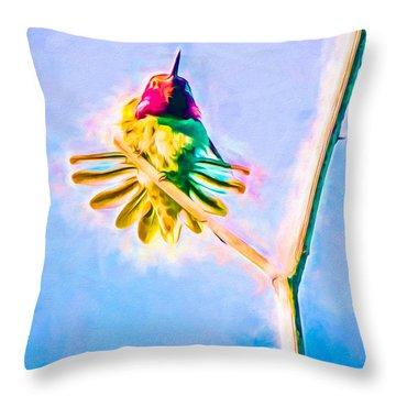 Throw Pillow featuring the mixed media Hummingbird Art - Energy Glow by Priya Ghose
