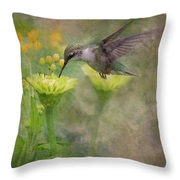 Hummingbird Art Throw Pillow by Ron Grafe