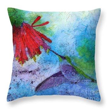 Hummingbird Batik Watercolor Throw Pillow