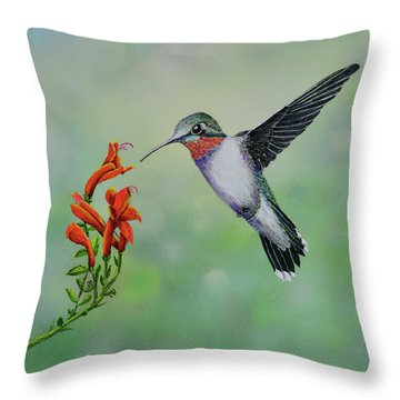 Throw Pillow featuring the painting Hummingbird Beauty by Mary Scott