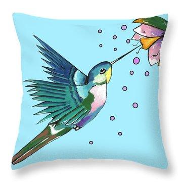 Hummingbird Blue Throw Pillow