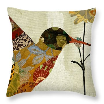 Hummingbird Brocade IIi Throw Pillow by Mindy Sommers