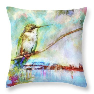 Hummingbird By The Chattanooga Riverfront Throw Pillow by Steven Llorca