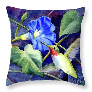 Throw Pillow featuring the painting Hummingbird Delight by Bonnie Rinier