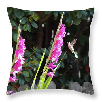 Hummingbird Feeding Throw Pillow