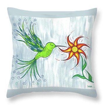 Hummingbird Floral Throw Pillow