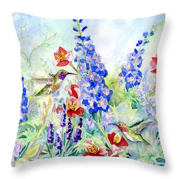 Hummingbird Garden In Spring Throw Pillow by Audrey Jeanne Roberts