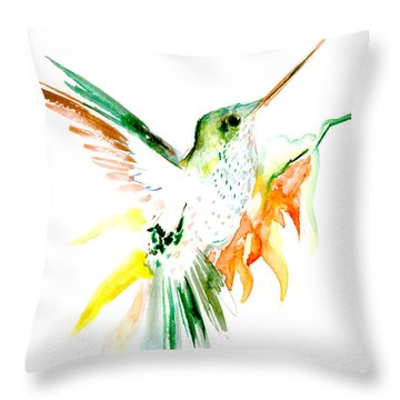 Hummingbird Green Orange Red Throw Pillow